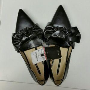 NWT Zara Black Bow Flat